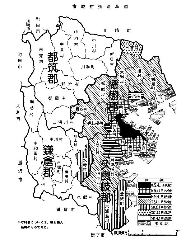 市域拡大沿革図