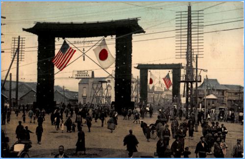 【横浜絵葉書】弁天橋の日米国旗