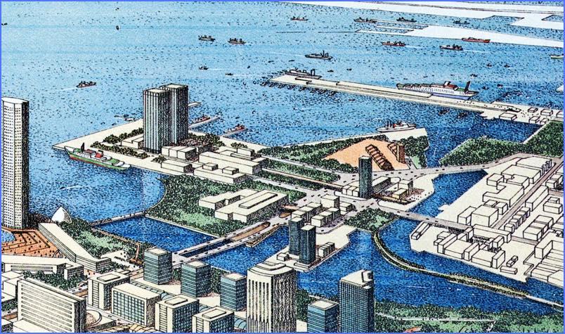 1980年代みなとみらい計画図(一部)