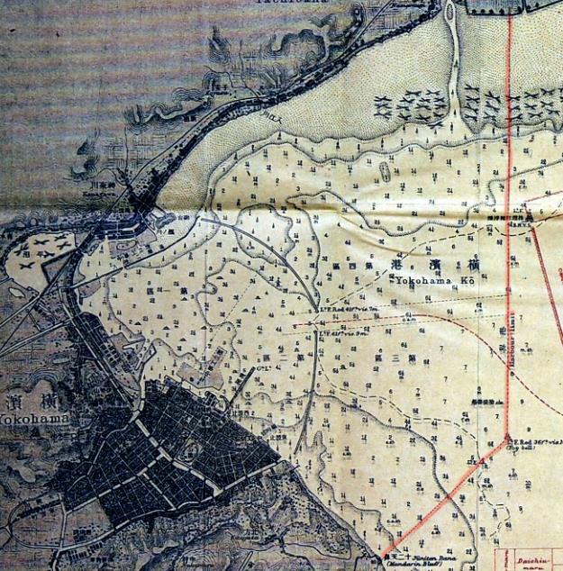 赤線が「横浜港の範囲」